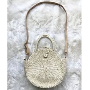 Boutique Hand Woven Straw Circle Crossbody Purse